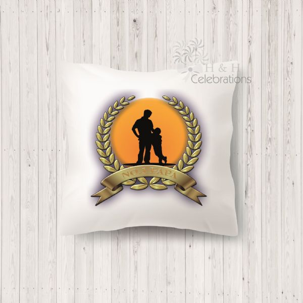 No 1 Papa And Son Laurel Silhouette Personalised Cushion